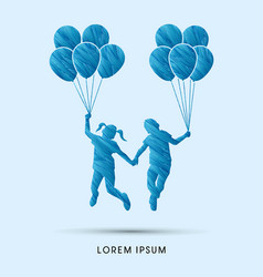 little boy and girl jumping with balloons vector image