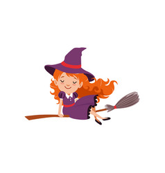 Little red-haired girl witch flying on a vector