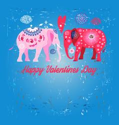 lovers funny elephants vector image