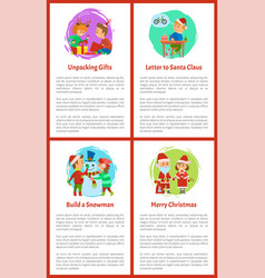 merry christmas children unpacking holidays gifts vector image