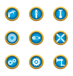 metal hand icons set flat style vector image