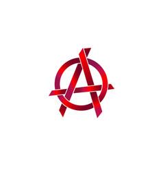 Metallic red anarchy symbol sharp shape element vector