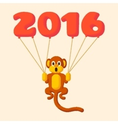 Monkey dotted symbol of 2016 with balloons vector
