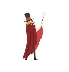 moustached waving his magic wand vector image
