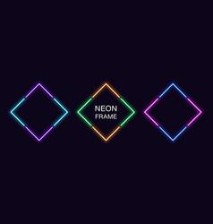 Neon rhomb frame set rhombus neon border in 4 vector