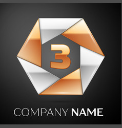 Number three logo symbol in the colorful hexagon vector