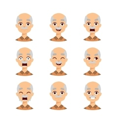 Old man emotions icons vector image vector image