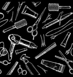 pattern with hairdressers tools vector image