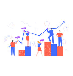 people work with chart data office workers vector image
