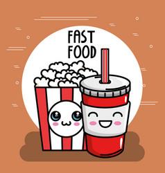 pop corn with soda kawaii character vector image