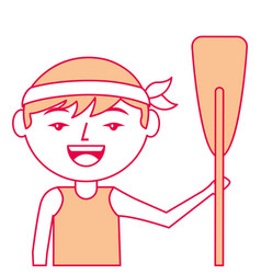 portrait cartoon man chinese with wooden oar vector image