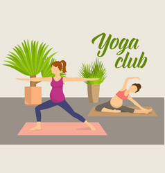 Prenatal yoga fitness club vector