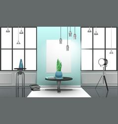 Realistic loft interior in light tones vector