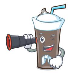 Sailor with binocular ice chocolate mascot cartoon vector