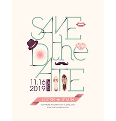 Save the date card typography vector image
