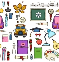 School seamless pattern with education elements vector image