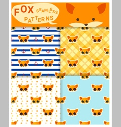 Set animal seamless patterns with fox 1 vector