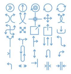 set blue line arrows simple vector image