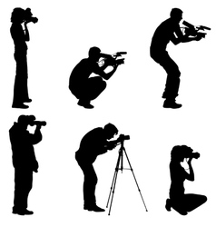 Set cameraman with video camera Silhouettes on vector image