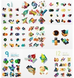 Set of abstract paper elements infographics vector image