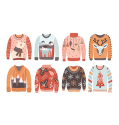 Set of ugly christmas sweaters or jumpers isolated vector
