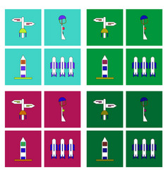 Set of war gagets in color sets on backgrounds vector