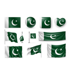 set pakistan flags banners banners symbols vector image