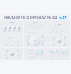 set with neumorphic infographic design templates vector image