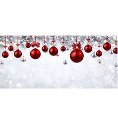 Shiny banner with red christmas balls vector