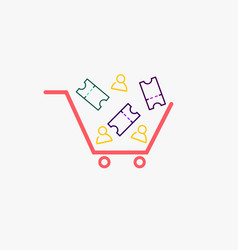 simple cart with ticket and person icons cart vector image