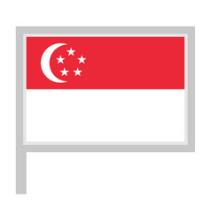 Singapore flag on flagpole icon vector
