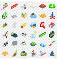 Sinking house icons set isometric style vector