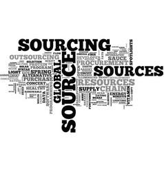Sourcing word cloud concept vector