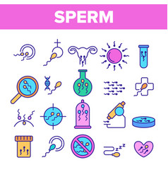 Sperm cells color line icons set vector
