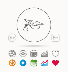 Stork with sack icon newborn baby symbol vector