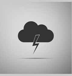 storm icon on grey background cloud and lightning vector image