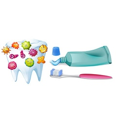 Tooth with bacteria and cleaning set vector