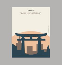 Torii gate itsukushima japan vintage style vector