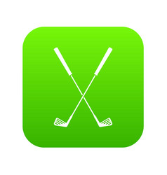 two golf clubs icon digital green vector image
