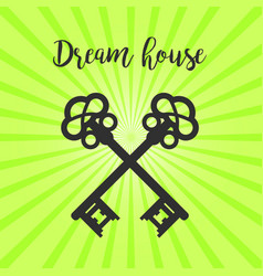 vintage crossed keys on green background vector image