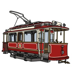 Vintage dark red tramway vector