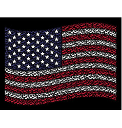 waving united states flag stylization of firewood vector image