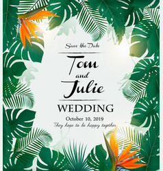 wedding invitation desing with exotic leaves and vector image