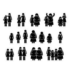 Woman and girls different body sizes and vector