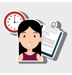 Woman with paper isolated icon design vector