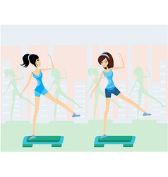 Women doing exercise on aerobic step vector