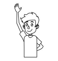 Young boy teen up arm outline vector