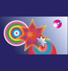 abstract colored stars and colored balls vector image vector image