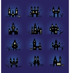 Halloween silhouettes set vector image