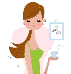 Healthy woman holding drink of water vector image vector image